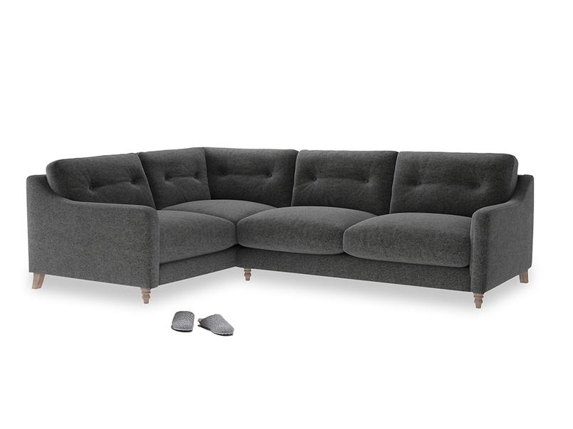 Large Left Hand Slim Jim Corner Sofa in Shadow Grey wool
