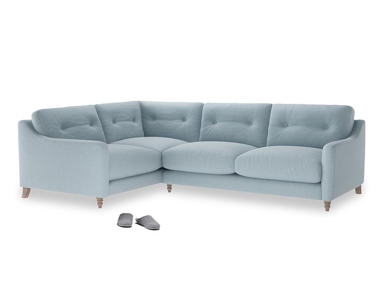 Large Left Hand Slim Jim Corner Sofa in Soothing blue washed cotton linen