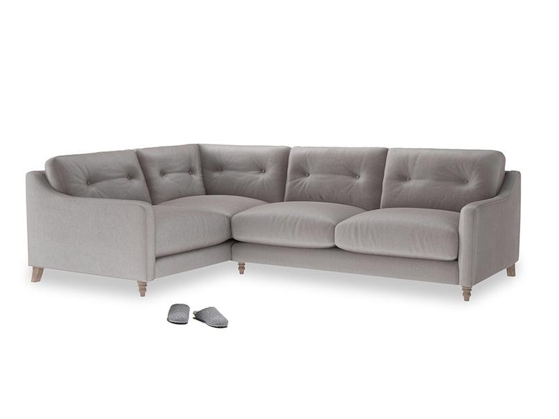 Large Left Hand Slim Jim Corner Sofa in Soothing grey vintage velvet