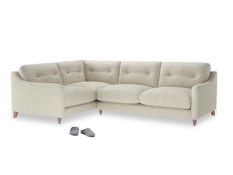 Large Left Hand Slim Jim Corner Sofa in Stone Vintage Linen