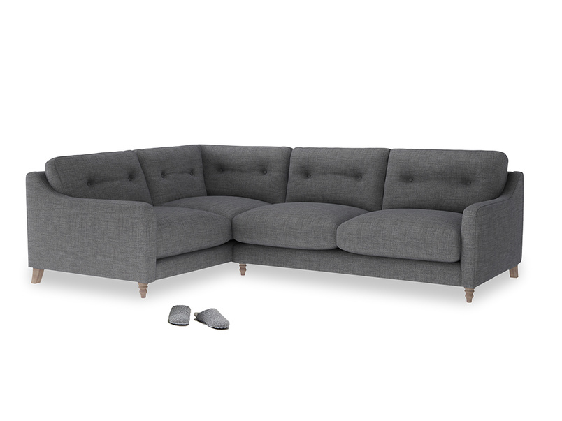Large Left Hand Slim Jim Corner Sofa in Strong grey clever woolly fabric