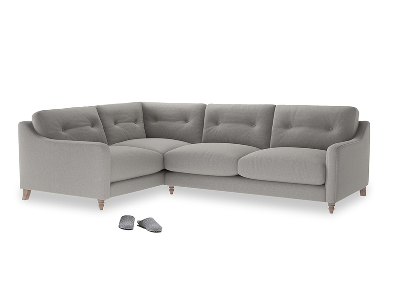 Large Left Hand Slim Jim Corner Sofa in Wolf brushed cotton