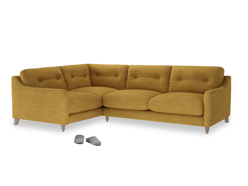 Large Left Hand Slim Jim Corner Sofa in Mellow Yellow Clever Laundered Linen