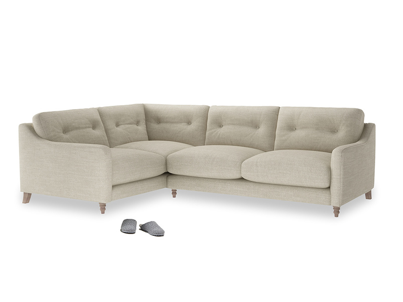 Large Left Hand Slim Jim Corner Sofa in Shell Clever Laundered Linen