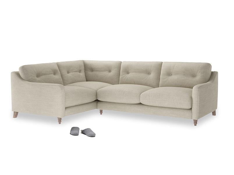Large Left Hand Slim Jim Corner Sofa in Shell Clever Laundered Linen