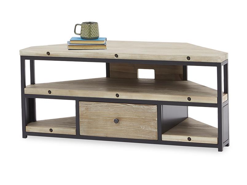 Hercule wooden Industrial Corner TV Unit