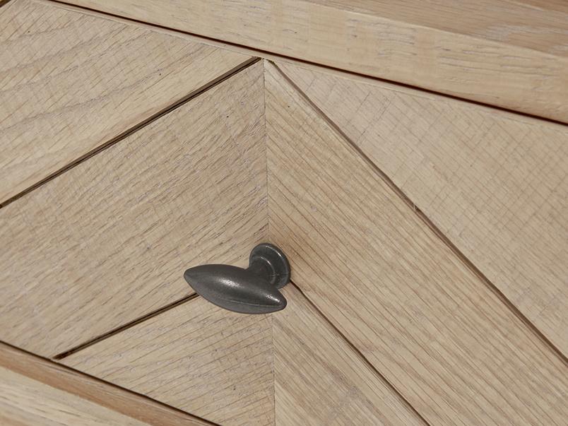 Telly Flapper oak parquet TV stand drawer detail