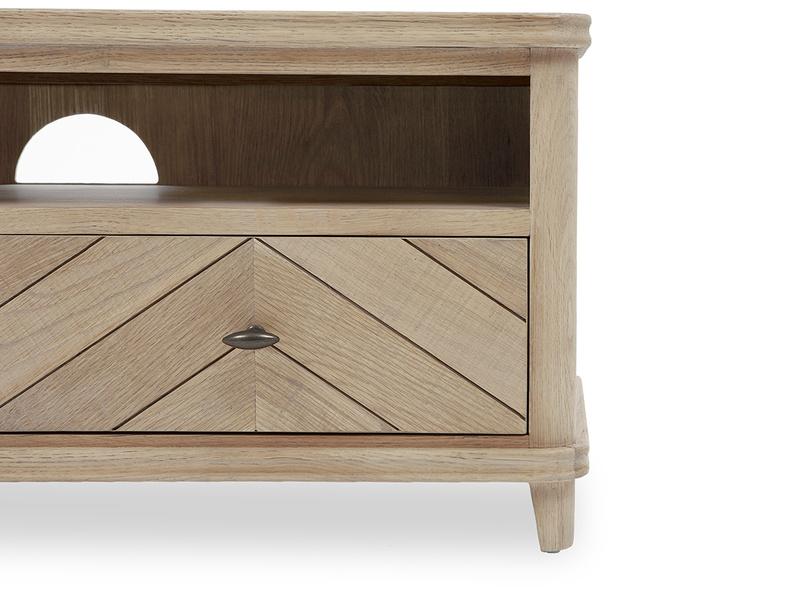 Telly Flapper oak parquet TV stand close detail