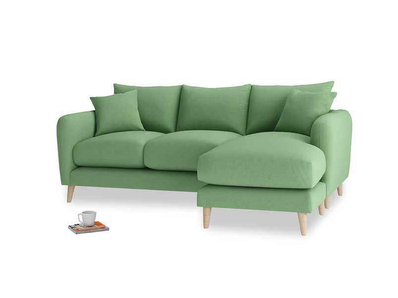 Large right hand Squishmeister Chaise Sofa in Clean green Brushed Cotton