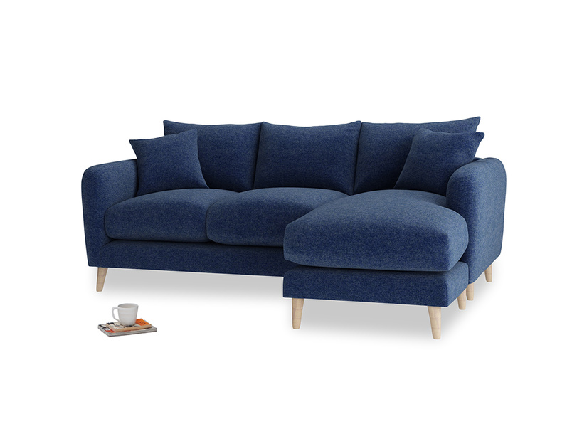 Large right hand Squishmeister Chaise Sofa in Ink Blue wool