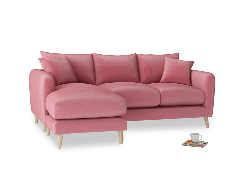 Large left hand Squishmeister Chaise Sofa in Blushed pink vintage velvet