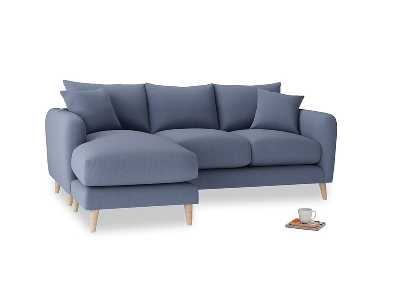 Large left hand Squishmeister Chaise Sofa in Breton blue clever cotton