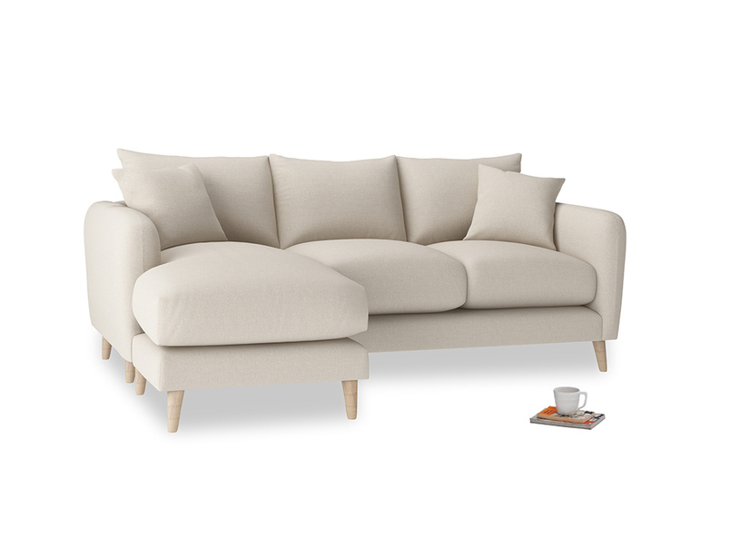 Large left hand Squishmeister Chaise Sofa in Buff brushed cotton
