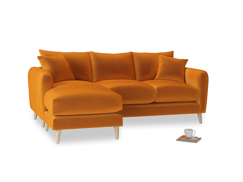 Large left hand Squishmeister Chaise Sofa in Spiced Orange clever velvet