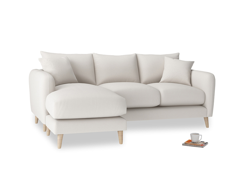 Large left hand Squishmeister Chaise Sofa in Chalk clever cotton