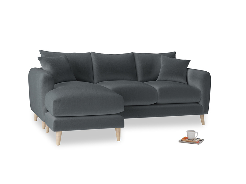Large left hand Squishmeister Chaise Sofa in Dark grey Clever Deep Velvet