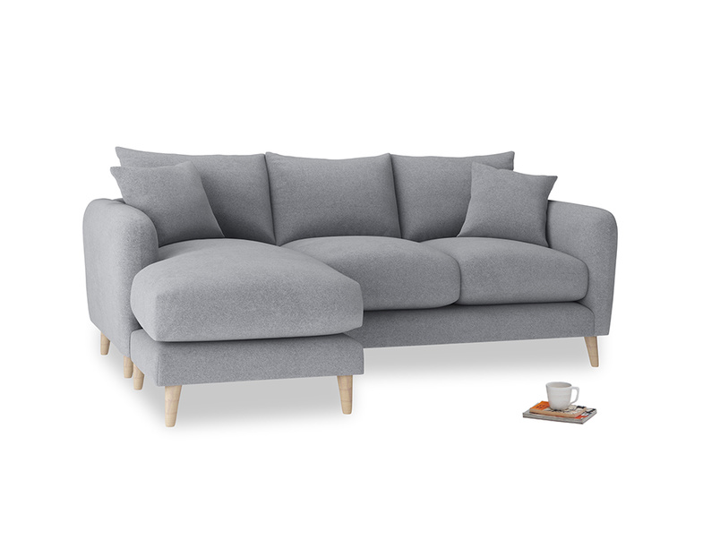 Large left hand Squishmeister Chaise Sofa in Dove grey wool