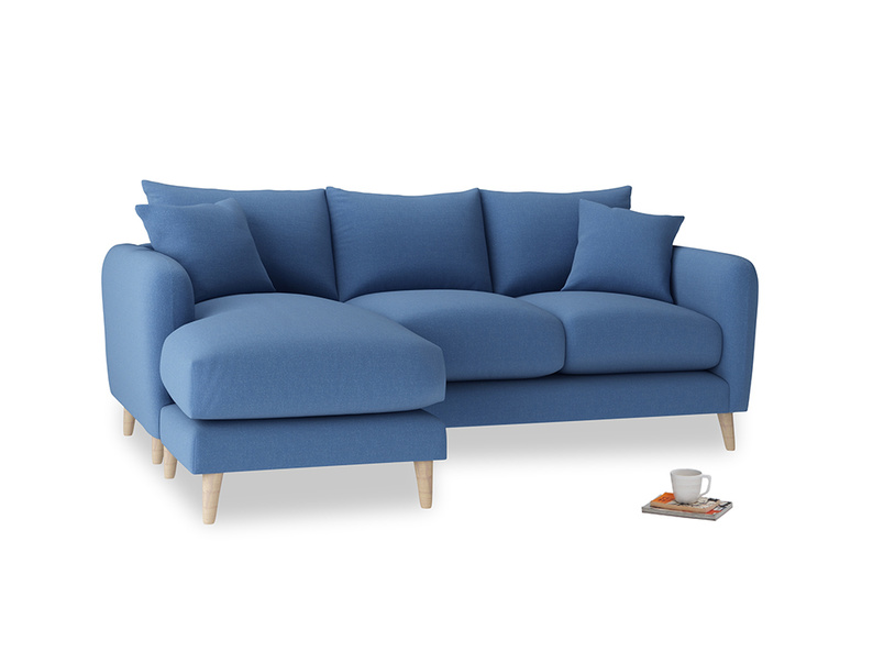 Large left hand Squishmeister Chaise Sofa in English blue Brushed Cotton