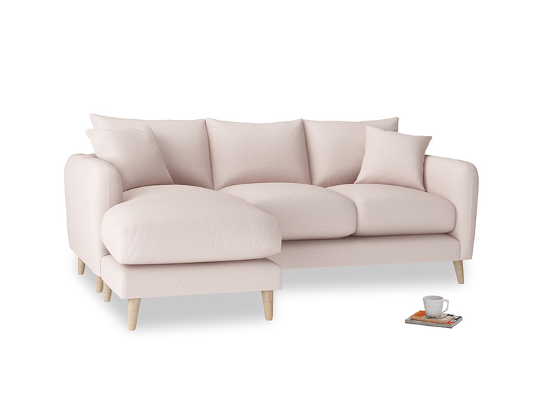 Large left hand Squishmeister Chaise Sofa in Faded Pink brushed cotton