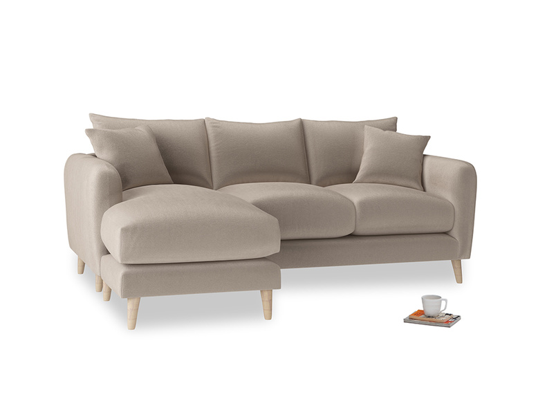 Large left hand Squishmeister Chaise Sofa in Fawn clever velvet