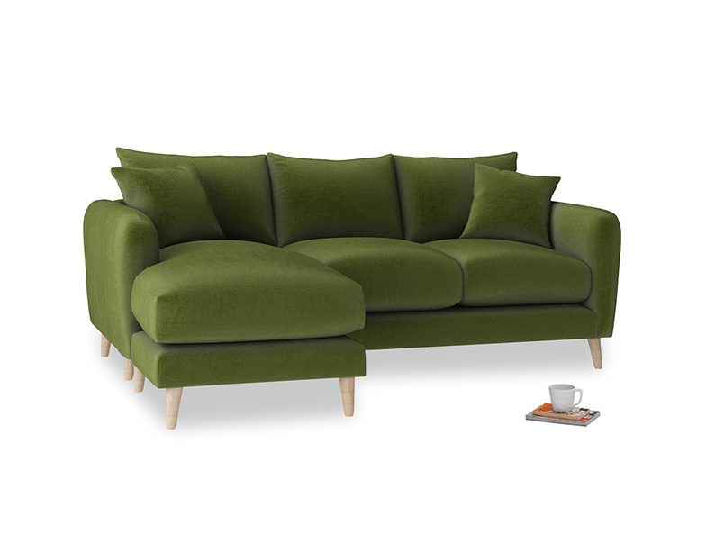 Large left hand Squishmeister Chaise Sofa in Good green Clever Deep Velvet