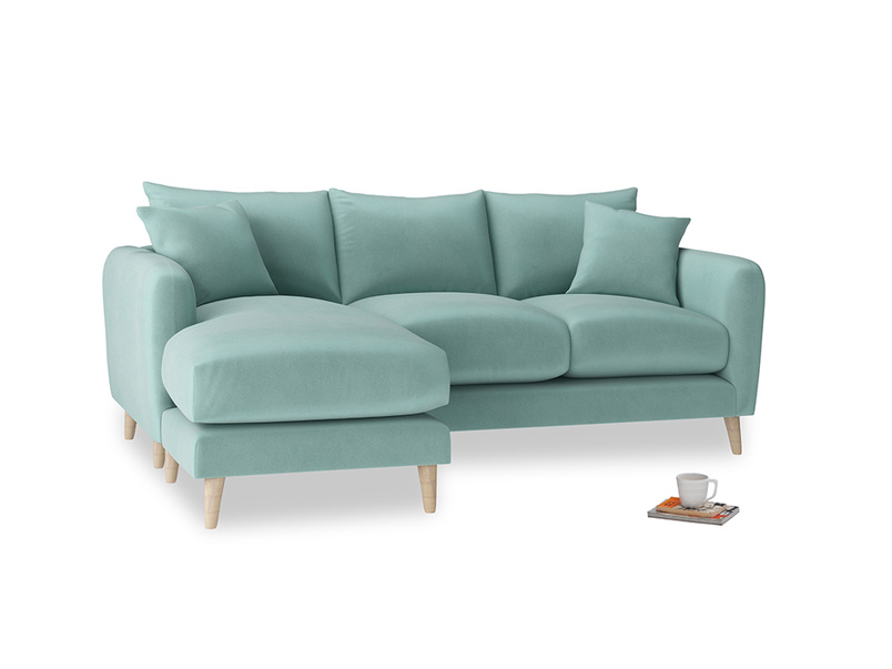 Large left hand Squishmeister Chaise Sofa in Greeny Blue Clever Deep Velvet