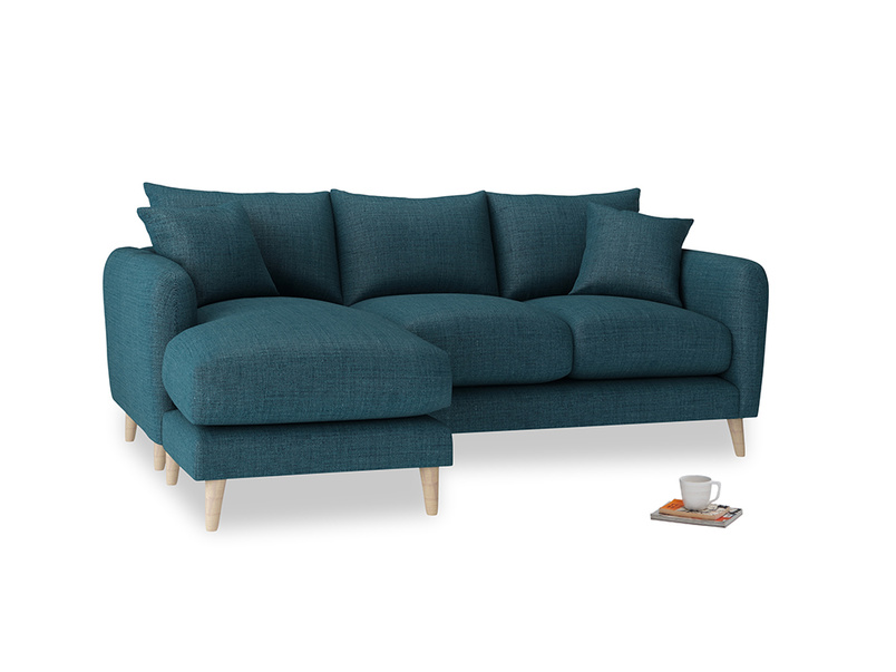 Large left hand Squishmeister Chaise Sofa in Harbour Blue Vintage Linen