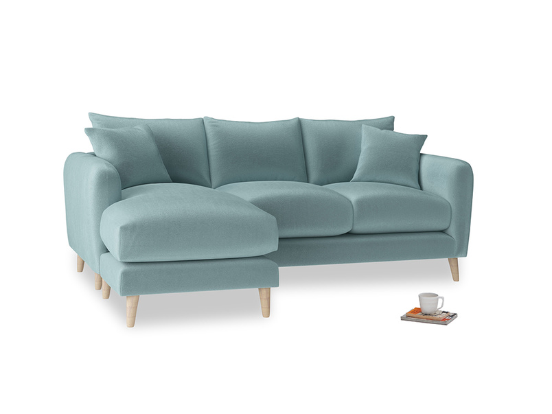 Large left hand Squishmeister Chaise Sofa in Lagoon clever velvet