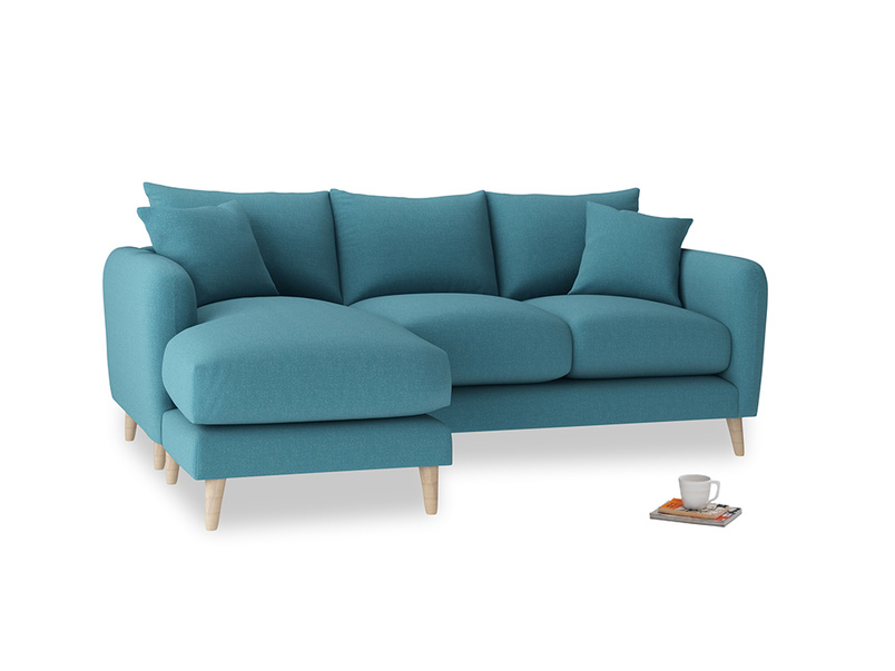 Large left hand Squishmeister Chaise Sofa in Lido Brushed Cotton