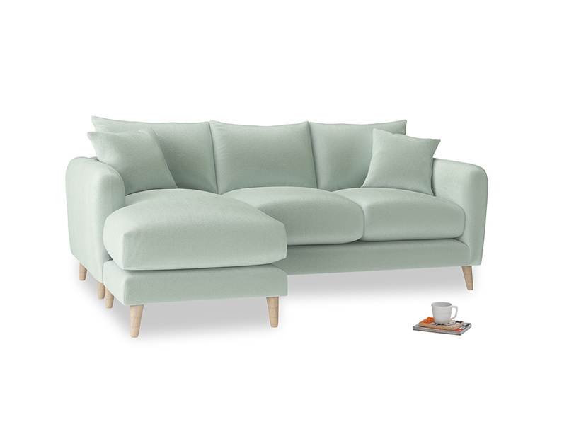 Large left hand Squishmeister Chaise Sofa in Mint clever velvet