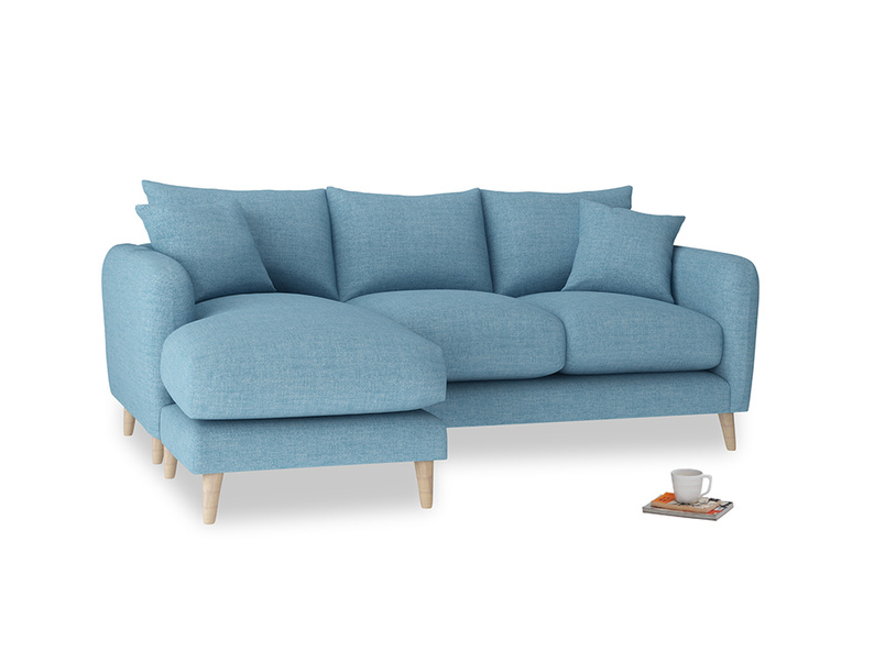 Large left hand Squishmeister Chaise Sofa in Moroccan blue clever woolly fabric
