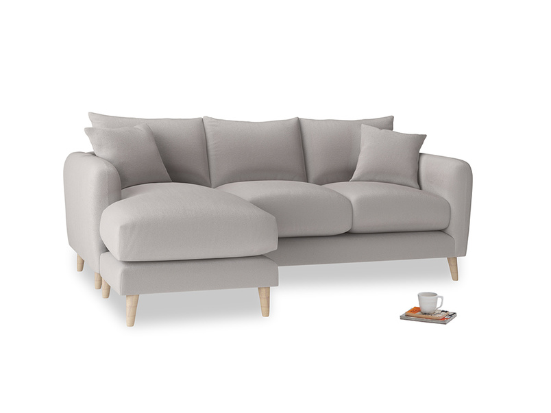 Large left hand Squishmeister Chaise Sofa in Mouse grey Clever Deep Velvet