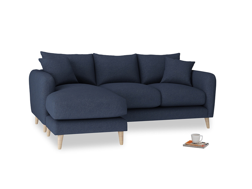 Large left hand Squishmeister Chaise Sofa in Night Owl Blue Clever Woolly Fabric