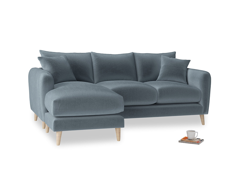 Large left hand Squishmeister Chaise Sofa in Odyssey Clever Deep Velvet