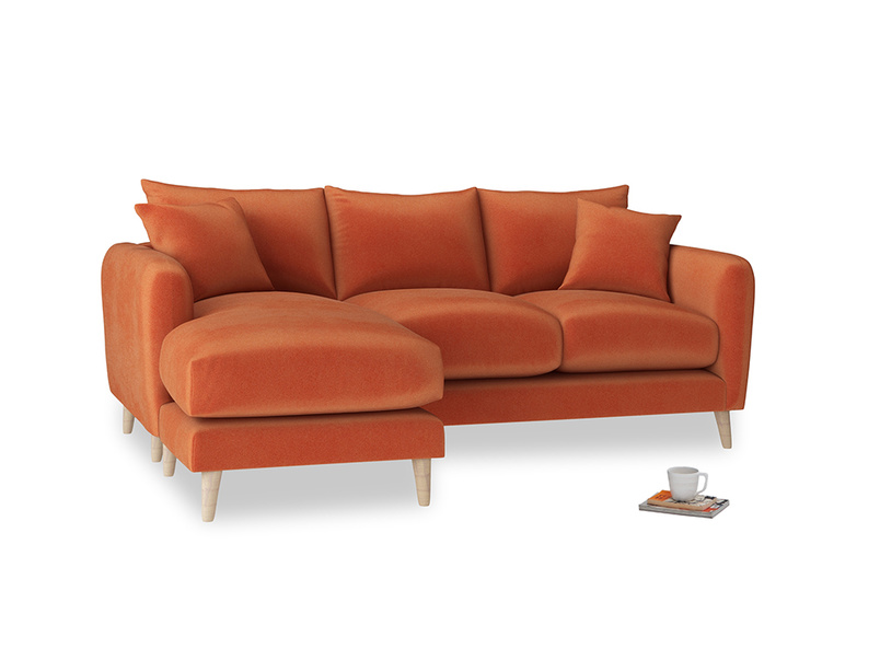 Large left hand Squishmeister Chaise Sofa in Old Orange Clever Deep Velvet
