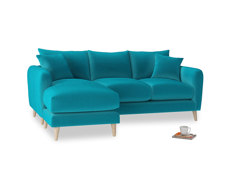 Large left hand Squishmeister Chaise Sofa in Pacific Clever Velvet