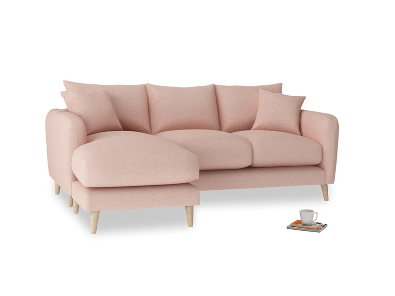 Large left hand Squishmeister Chaise Sofa in Pale Pink Clever Woolly Fabric