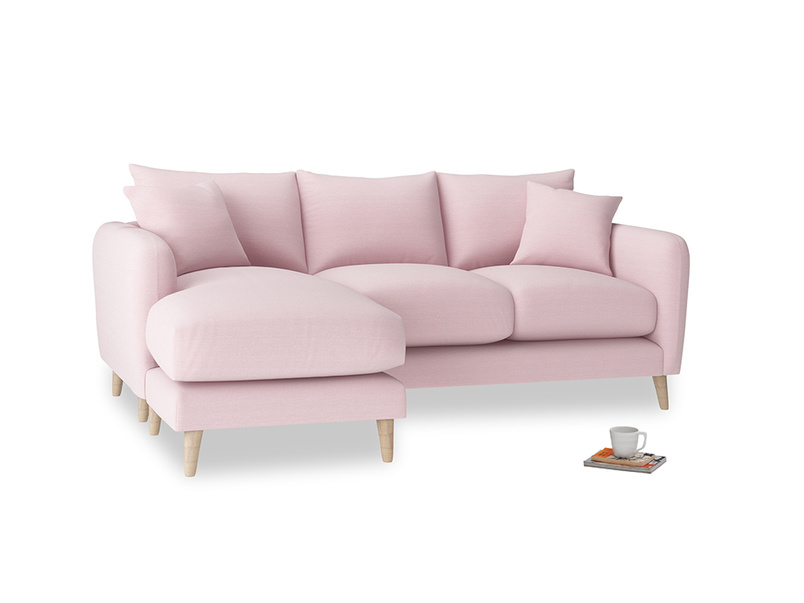 Large left hand Squishmeister Chaise Sofa in Pale Rose vintage linen
