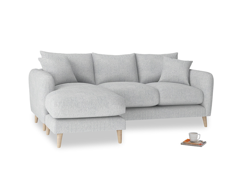 Large left hand Squishmeister Chaise Sofa in Pebble vintage linen