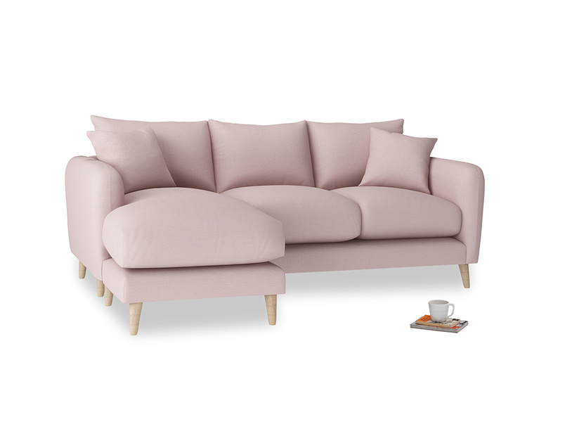 Large left hand Squishmeister Chaise Sofa in Potter's pink Clever Linen