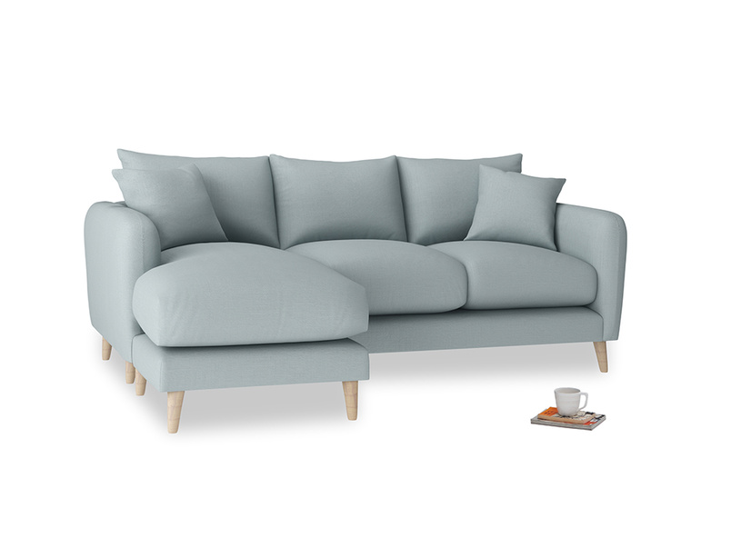Large left hand Squishmeister Chaise Sofa in Quail's egg clever linen