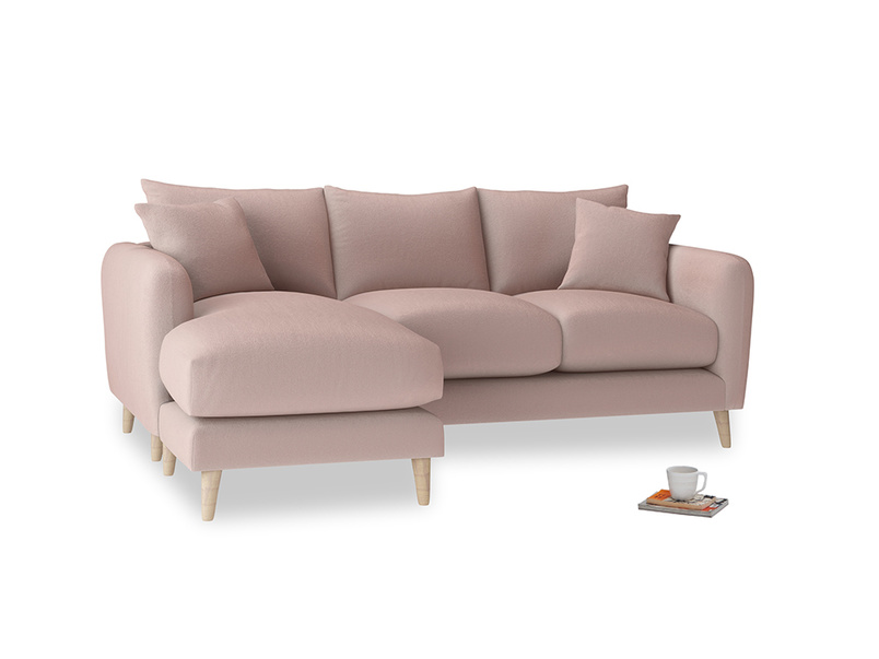 Large left hand Squishmeister Chaise Sofa in Rose quartz Clever Deep Velvet