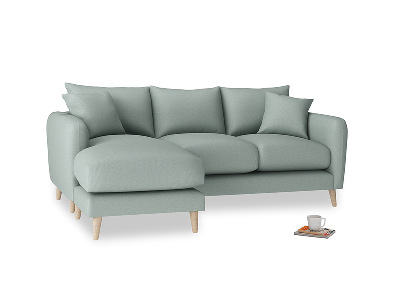 Large left hand Squishmeister Chaise Sofa in Sea fog Clever Woolly Fabric
