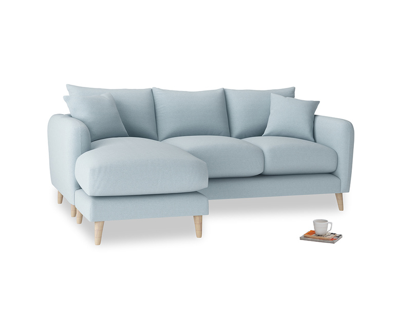 Large left hand Squishmeister Chaise Sofa in Soothing blue washed cotton linen