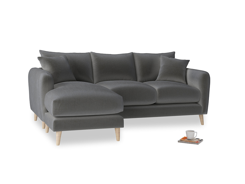 Large left hand Squishmeister Chaise Sofa in Steel clever velvet