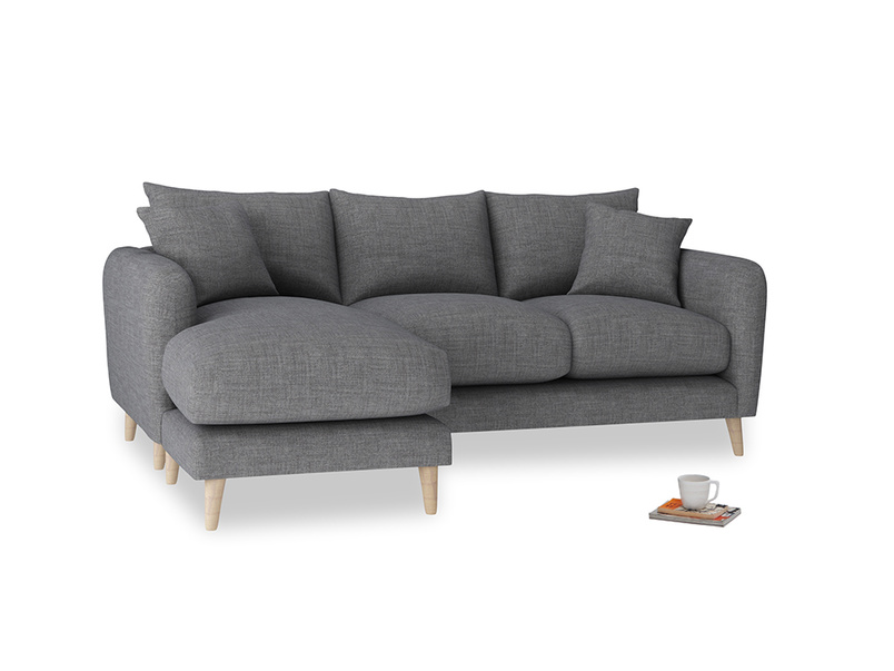 Large left hand Squishmeister Chaise Sofa in Strong grey clever woolly fabric