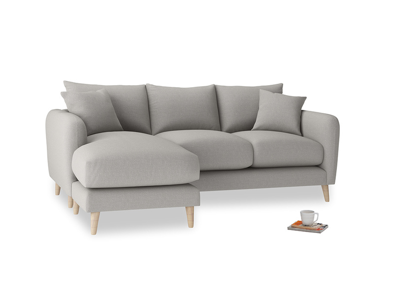 Large left hand Squishmeister Chaise Sofa in Wolf brushed cotton
