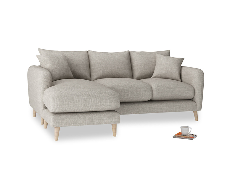 Large left hand Squishmeister Chaise Sofa in Grey Daybreak Clever Laundered Linen