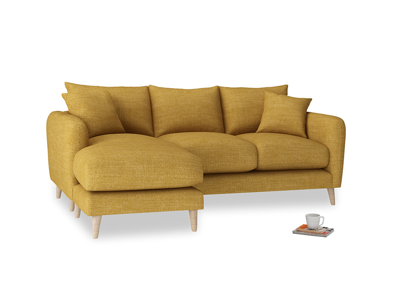Large left hand Squishmeister Chaise Sofa in Mellow Yellow Clever Laundered Linen