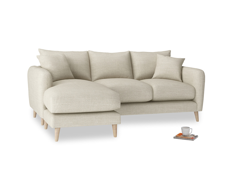Large left hand Squishmeister Chaise Sofa in Shell Clever Laundered Linen